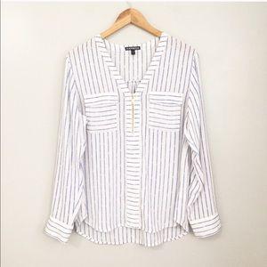 Express Blue and White Stripe Blouse Size Medium